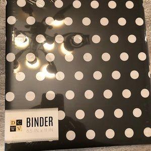 Two black and white polka dot binders 8 1/2 x 11